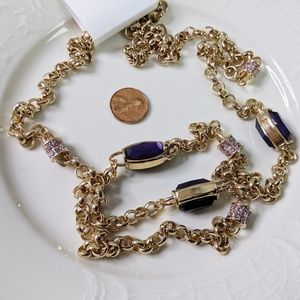 Coldwater Creek Jewel Frost Gold Purple Necklace
